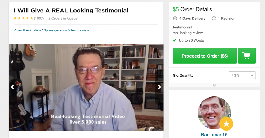 screen capture of a fiverr actor