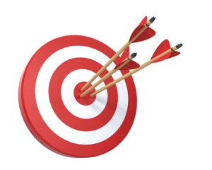 a bullseye with 3 arrows in the center