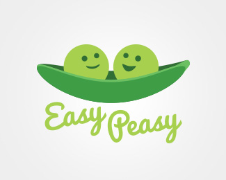 2 green peas in a pod with the words easy peasy below it