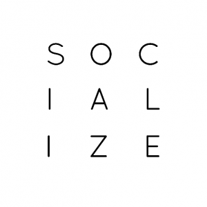 the word socialize spelled out on a white background