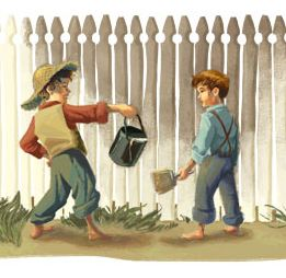 classic image of tom sawyer handing his paint bucket to a friend